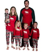 Wholesale Wholesale Matching Winter Sets - 2017 Christmas Deer Striped Pajamas Kids Adult Family Matching Clothes Sleepwear Nightwear Pyjamas Bedgown Deer Matching Outfits Xmas Gift