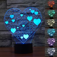Wholesale Led Cube Tables - Lighting Fixtures Led Bedroom Lighting Heart Lamps 3D LED Lights Cubes Touch Switch Night Lights Color Changing Lights Colorful Table Lamps