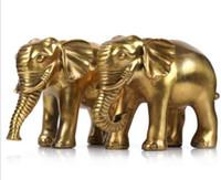 ingrosso porcellana fortunata statue-Spedizione gratuita China Bronze Fengshui Lucky Elephant Statue A pair