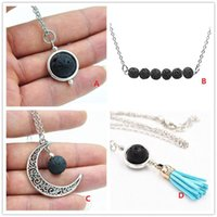 Wholesale Necklace Moon Men - 4 Styles Natural Black Lava Stone Essential Oil Diffuser Necklace Fashion Moon and Sun Tassel Beads Necklace Jewelry for women Men