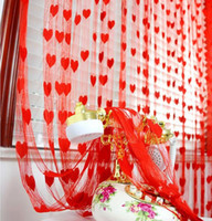 Wholesale Sheer Curtains Tassels - Wedding backdrop curtain love heart tassel Screens Room Dividers Rod Pocket door sheer Curtain party decoration props colorful gift 25pcs