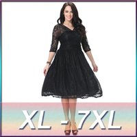 Wholesale Pictures Tutu - XL-7XL,2016 Spring New Fashion Women Sexy V-neck Half Sleeve Black Lace TuTu Dress Plus Size Big Swing Ball Gown Dress 5XL,6XL