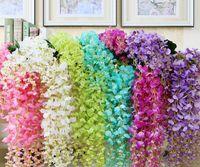 ramo de hiedra al por mayor-Flores de hiedra artificial Flor de seda Wisteria Vine flor de ratán para bodas Centros de mesa Decoraciones Ramo Guirnalda Ornamento casero IF01