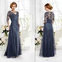 Wholesale Grey Vintage Lace Dress - Vintage V Neck Lace Grey Evening Dresses 2016 Plus Size Lace Tulle Quarter Sleeves Sweep Train Prom Party Gowns