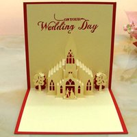 Venda quente New Wedding Day Church Handmade Creative 3D POP UP Gift Greeting Cards para Lover Design