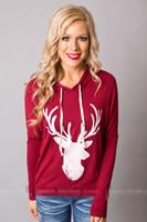 Wholesale Deer Belt - Winter Pullover Fashion Deer Printed Long-sleeved Women's Thin Hoodies Casual Hoodies Top clothing Girls Christmas Gift