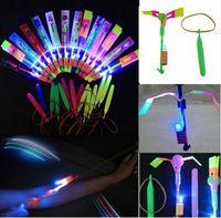 Wholesale Led Light Toy Sling - 500pcs LED Light Flash Amazing Flying Elastic Powered Arrow Sling Shoot up Helicopter Rubber band Umbrella Kids toys Free Shipping