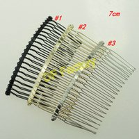 Wholesale Material Craft Pieces - 7cm metal hair comb material hair accessory material handmade hair comb for craft( 20 pieces lot)