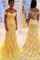 Wholesale Hot Elegant Beaded Cap Sleeves - Latest Fashion Cap Sleeve Arabic Evening Dresses A-line Appliques Lace Yellow Custom Made Hot Elegant Long Party Prom Dresses