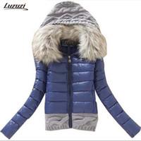 Wholesale worsted coat hoods - Wholesale- 1PC Winter Jacket Women Winter Coat Cotton Padded Short Jackets Knitted Hood Fur Collar Chaquetas Mujer Jaqueta Feminina Z005