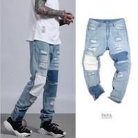 Vintage Hommes Jeans Straight Patched Long Pantalon Large Jambe Mode Denim Blue Jeans Printemps Automne Pantalon D'été