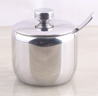 Wholesale Stainless Steel Sugar Bowls - Wholesale-304 stainless steel spice jar sauce pot salt sugar bowl kitchen utensils supplies Seasoning box caster