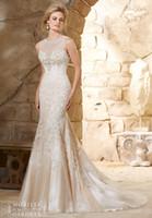 Wholesale Silk Satin Wedding Skirt - Romantic Mermaid Wedding Dress Heavy Beading Luxury Lace Sheer Neck Wedding Gowns Designer Bridal Gowns White Dresses