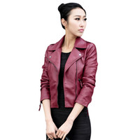 Wholesale leather biker jackets wholesale - Wholesale- New Fashion Women Leather Motorcycle Zipper collar Punk Coat Biker Jacket Lady Cool Outwear