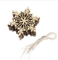 10pcs / set 10pcs Feliz árvore de Natal Pendurado White Snowflake Ornaments Decoração Christmas Holiday Party Home Decor (Cor de madeira)