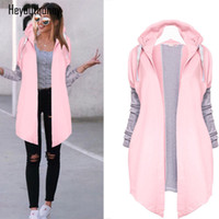 Heyouthoney 2017 Neue Stil Lange Strickjacke Herbst Winter Frauen Lose Mantel rosa Einfarbig patchwork Beiläufige Weibliche kawaii Outwear