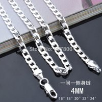 Wholesale Cheap Sterling Silver Chains Wholesale - X83 cheap wholesale 925 sterling silver chain necklace 4MM 16-24inches Fashion Men's Jewelry Top Quality