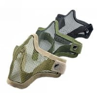 Wholesale Airsoft Mesh - New Arrive Half Lower Face Metal Steel Net Mesh Hunting Tactical Protective Airsoft Mask Gofuly
