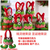 Wholesale Christmas Elf Ornaments - New Elf Bags Christmas Candy Gift Bag 100pcs LOT Xmas wedding Party Supplies Top Selling Free Shipping Christmas Decorations