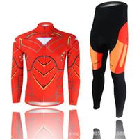 Wholesale Iron Man Underwear - Wholesale-XINTOWN iron man cycling wear long sleeved suit cycling wear fleece windproof functional underwear