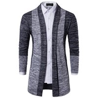 Wholesale cardigan sweater brown - Men Sweater Brand Clothing Patchwork Cardigan Knitted Pullover Men Slim Fit Plus Size Men's Top Long Sleeve Sweater Coat
