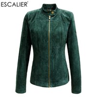 ESCALIER Winter Women Genuine Leather Giacche Casual Pigskin Plus Size Capispalla Verde manica lunga da donna Basic giacca Cappotti