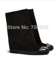 Wholesale Genuine Silver Chains - Brand genuine leather suede riding boots silver chain Wedges Women Height Increasing Platform 2 ways Knee-high Boots