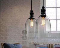 Wholesale Modern Crystal Bell Glass Pendant Lights Glass Hanging Light Droplight Edision Pendant Lamps Dining Room Indoor Contemporary Lighting E27