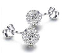 elmas kristal bileklik küpeler toptan satış-925 Gümüş Saplama Küpe Shambala Topu Elmas Kristal Disko Boncuk Şeker Küpe Moda Takı Kadınlar Kızlar için Yüksek Kalite