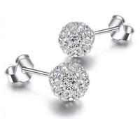 Wholesale Rhinestone Ball Beads Sterling - 925 Sterling Silver Stud Earrings Shambala Ball Diamond Crystal Disco Beads Candy Earring Fashion Jewelry for Women Girls High Quality