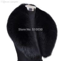 Wholesale Real Fox Fur Wrap - Wholesale-100cm Men Genuine Fox Fur Collar Fur Muffler Real Fur Scarf Fur Accessory Women Wrap Wholesale Retail OEM Free Shipping