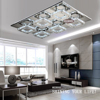 Wholesale Square Crystal Ceiling Lamp - Free Shipping Modern LED Crystal Light Square Surface Mounted Lamp Crystal Chandeliers Ceiling Light Fixture For Foyer Living Room