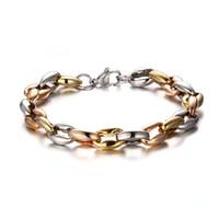 silberne knochenarmbänder großhandel-2015 neueste meistverkaufte herren silber gold rose gold dreifarbige edelstahl kragen knochen gliederkette armband schwere riesige 8,5 ''