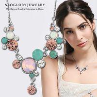 Wholesale Neoglory Swarovski - Neoglory MADE WITH SWAROVSKI ELEMENTS Crystal Rhinestone Fashion Chain Choker Necklaces for Women Pendant Gifts 2015 Brand JS1