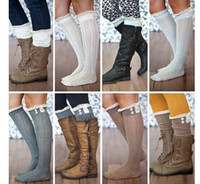 Wholesale Long Black Boot Laces - new crochet lace trim cotton knit leg warmers boot Womem Long Cotton Socks Knee High Long Socks leg warmer stocking free shipping in stock