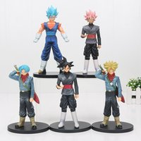 5 pcs / lot 18 cm Anime Dragon Ball Super Goku Noir Gokou Super Saiyan Troncs vegetto DXF PVC Action Figure Jouet