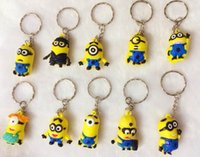 Wholesale Despicable 3d Movie - 500pcs lot Free DHL 2015 Hot Sale 3D Despicable Me Minion Action Figure Keychain Keyring Key Ring Cute Mix order 18 styles