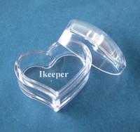 Wholesale Wholesale Plastic Heart Shaped Containers - 100PCS Empty Cosmetic Lip Balm Pot Jar Container 0.17oz 5g Slanting Heart Shape