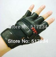 Wholesale Men S Fingerless Leather Gloves - Wholesale-New 2015 Leather Gym Gloves Bodybuilding Gloves Men's Exercise Training Gym Weightlifting Gloves Dumbbells Gloves Free