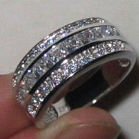 Wholesale Gemstones Rings Men - Size 8,9,10,11,12 Men's Diamond Simulated Gemstone 10KT Gold Filled Band Ring for Men