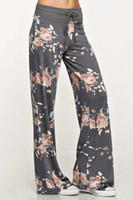 Wholesale wide legs pants - New Women Floral Yoga Pants Casual Loose High Waist Wide Leg Ties Design Long Trousers Yoga Pants