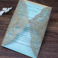 ingrosso carte d'invito blu d'oro-Invito romantico san valentino inviti d'oro tiffany blu laser laser cut matrimonio compleanno baby shower gift cards