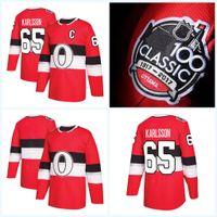 venda de camisas de hóquei em branco venda por atacado-Venda quente Mens 2017 100 Clássico Patch Senators Ottawa # 65 Erik Karlsson # Preto Vermelho New Style Hockey Jersey Frete Grátis