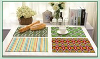 Wholesale Fresh Arts - The new fashion cotton and linen cloth art placemat Fresh green leaves tiny stripes pattern table mat