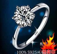 Wholesale Claw Couplings - Fast Free shipping Real Fine Classic six claw one karat 1ct diamond ring 925sterling silver ring couple rings women marry wedding engagement
