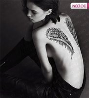 Wholesale Tattoo Neeio - ANI123 Neeio Super Large Magic Angel Wings Temporary Tattoo Totem Tattoos Back Chest Tattoo Waterproof Body Art Henna Sticker