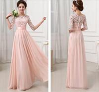 Wholesale Elegant Formal Brides Maids Dresses - Vestidos de Fiesta Pink White Chiffon Long Formal Prom Gowns Back Lace Evening Dress Elegant Bridesmaid Dress Brides Maid Dress with Sleeves