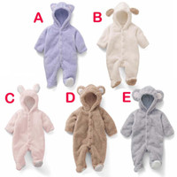 Wholesale Down Baby Romper Winter - Autumn and winter Jumpsuit stereo modelling Coral Fleece little bear Baby Bag feet Romper baby climb clothes B001