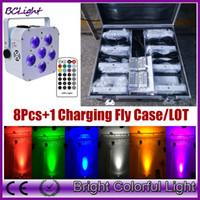 dmx 512 remote venda por atacado-(8 pcs + 1 caso de mosca / lote) controle remoto infravermelho RGBAW UV LED uplight bateria de casamento de alta potência DMX par 6x18 W (caso branco)