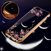 Wholesale Tpu Flower Rose - For iPhone 6 6S Plus Diamond Chic Flower Electroplate Soft TPU Ultrathin Case Cover Rose Gold For iPhone6 6Plus 5